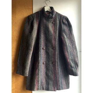 Vintage Wool Coat, Puffed Sleeve Size ~M